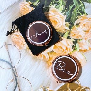 Personalised Rose Gold compact mirror|Name mirror